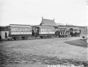 An old image of the Bushmills to Giants Causeway Tram outside the Causeway Hotel