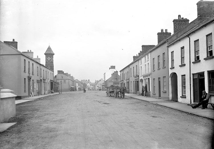 An image of bushmills from the 1920s looking north towards the market square