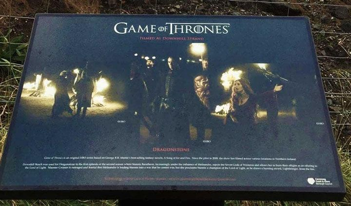 The Game of Thrones Location Board for dOWNHILL bEACH THAT DEPICTS THE BURNING OF THE old gods with mellisandra and stannis
