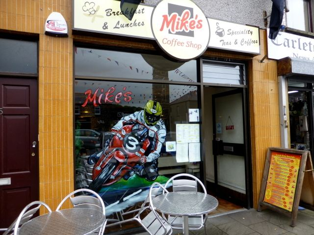 The front of mIKES coffee shop and diner in bUSHMILLS