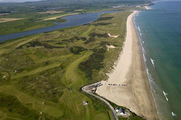 Portstewart Strand Beach and Golf Course looking North Towards Castlerock and Donegal, filming location of Game of tHRONES