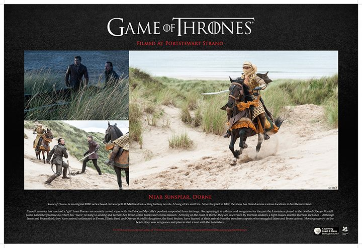 The game of thrones film location board at portstewart strand beach