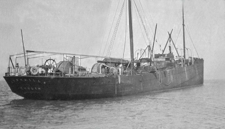 an image of the SS Bushmills owned by the Old Bushmills Distillery but showing it when it was wrecked near Wales