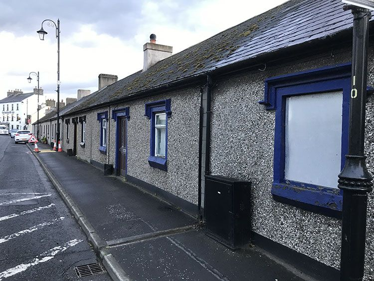 An image of Shell row in bushmills looking up towards the Bushmills Inn and the centre of town